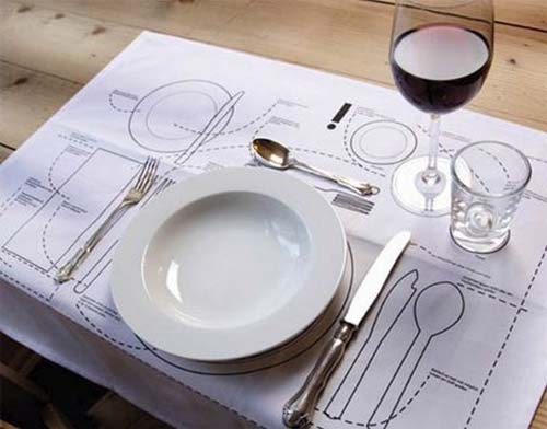 Instructions for properly setting the table