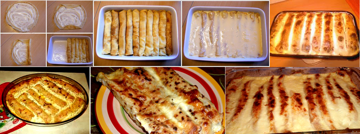 Baked pancakes with cheese and sour cream
