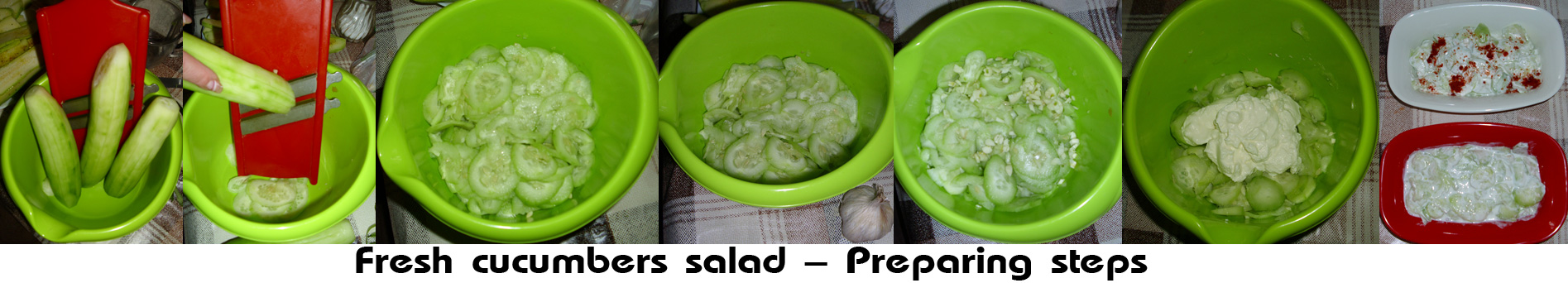 Fresh cucumbers salad prepare