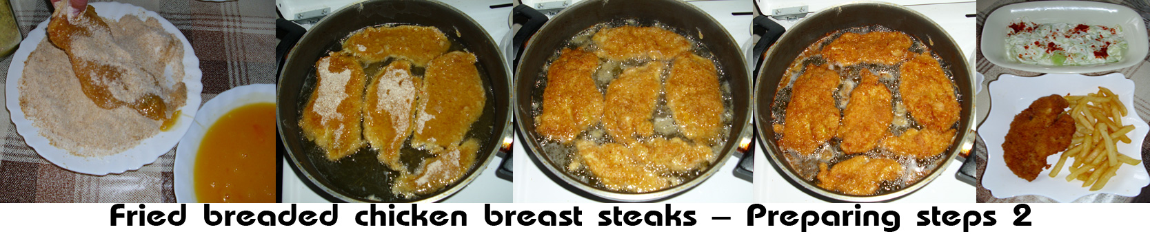 Fried breaded chicken breast steaks (Pohovane šnicle od pilećih grudi)