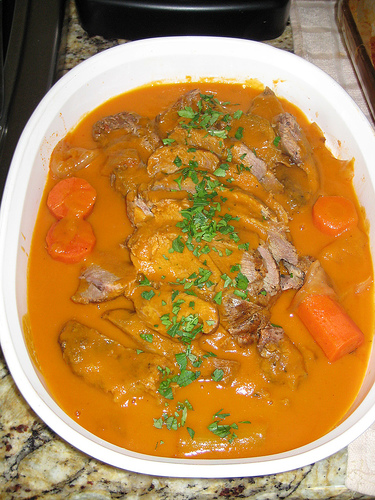 Lamb with tomato juice