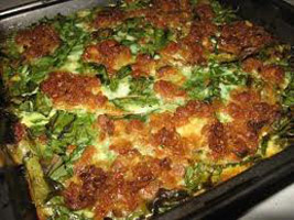 Potato moussaka with bacon and spinach