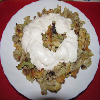 Noodles with the ground meat and white sauce