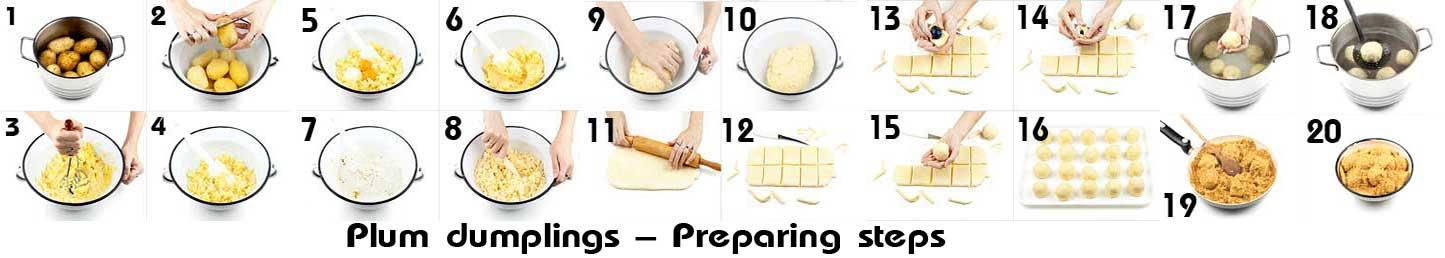 Plum dumplings - preparation steps