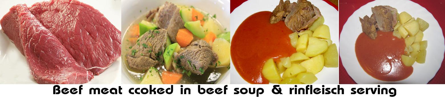 Rinfleisch - -cooked beef meat & rinfleisch serving